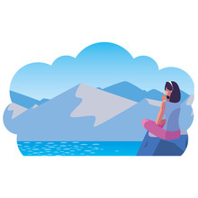 Woman Contemplating Horizon In Lake And Mountains Scene