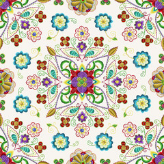 Embroidery seamless pattern with beautiful flowers. Vector handmade floral ornament on dark background. Embroidery for fashion products. Elegant tiled design, best for print fabric or papper and more.