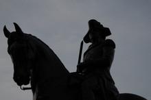 Silhouette Picture Of The Equestrian Statue Of George Washington In Common Park, Boston
