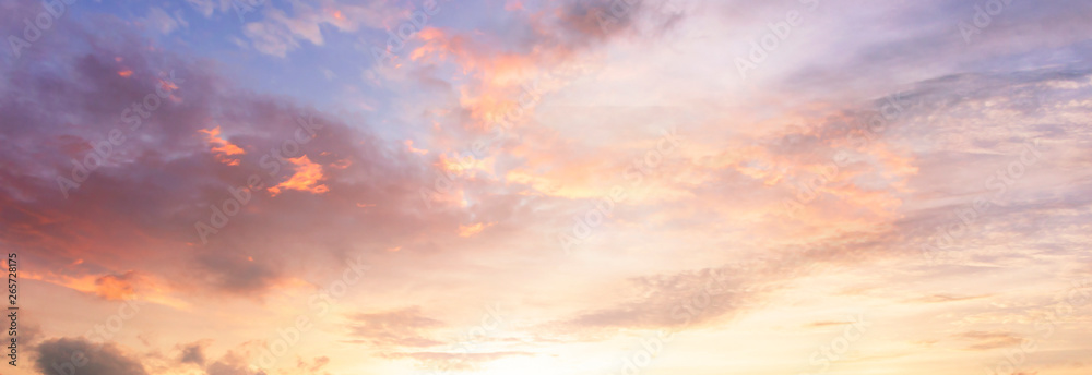 Fototapeta Background of colorful sky concept: Dramatic sunset with twilight color sky and clouds