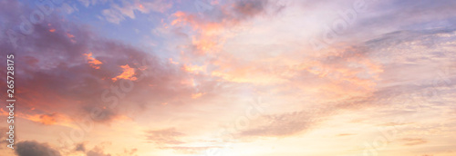 Background of colorful sky concept: Dramatic sunset with twilight color sky and clouds - 265728175
