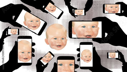Valokuva  A baby draws the full attention of family members who record his image on their cell phones