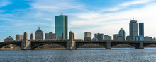 Panorama For Banner Of Train Running Over The Longfellow Bridge The Charles River At The Evening Time, USA Downtown Skyline, Architecture And Building With Transportation Concept