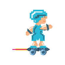 Video Game Warrior In Skate Pixelated Icon