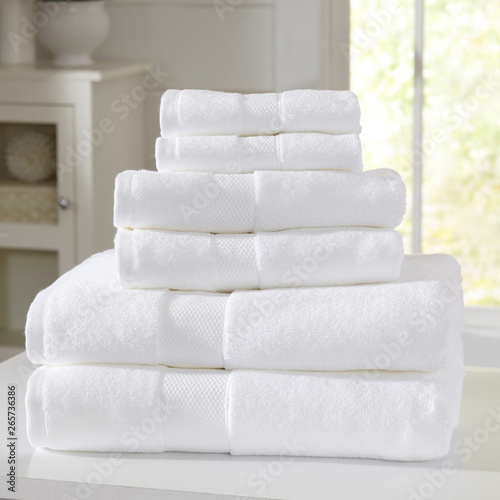 Photo Cotton terry towel set. Dobby border towel set