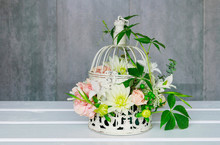 How To Make Floral Arrangement With Roses, Dahlias And Iris Flowers Inside A Vintage Bird Cage
