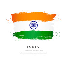Flag Of India Vector Illustration On White Background.