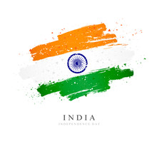 Flag Of India. Independence Day. White Background.