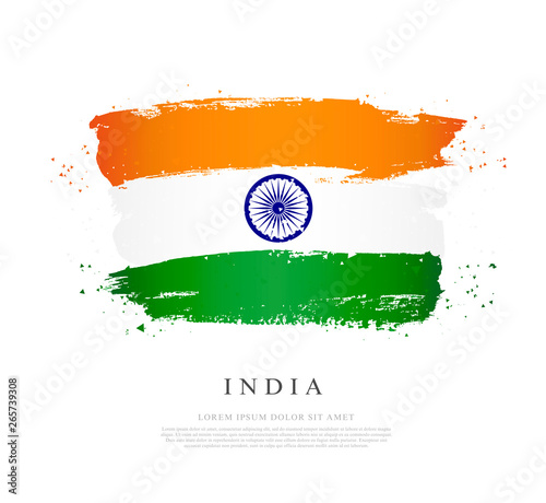 Papel de parede Flag of india Vector illustration on white background.