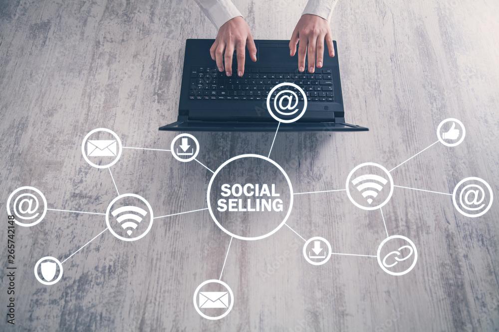 Fototapeta Internet, communication, technology. Concept of social selling