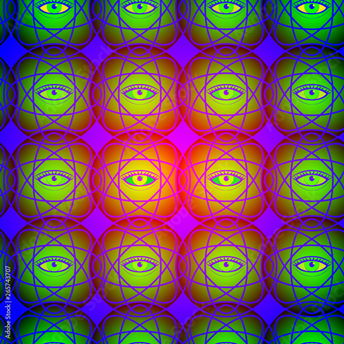 Foto auf AluDibond Ziehen nteresting seamless pattern with the image of magic all-seeing eye