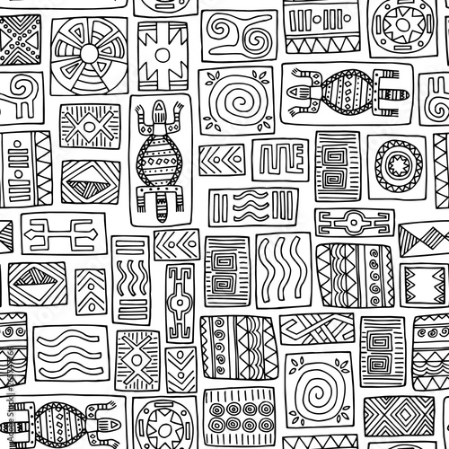 Tribal African Seamless Pattern On White Background Hand Drawn Black And White Tribal Vector Pattern With Doodle Elements For Design Wallpaper Fabric Textile Paper Stock Vector Adobe Stock