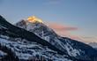 winter landscape (at sunset) of the high Valtellina, between the Italian central Alps, village of valdidentro, sondrio, italy