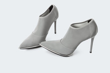 Grey Transparent Fabric High Heel Shoes Over White Background