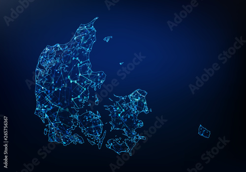 Abstract of denmark map network, internet and global connection concept, Wire Frame 3D mesh polygonal network line, design sphere, dot and structure Canvas Print