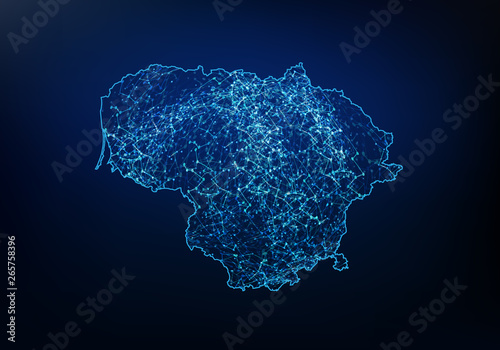 Canvas Print Abstract of lithuania map network, internet and global connection concept, Wire Frame 3D mesh polygonal network line, design sphere, dot and structure