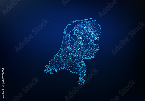 Abstract of netherlands map network, internet and global connection concept, Wire Frame 3D mesh polygonal network line, design sphere, dot and structure Canvas Print