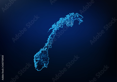 Abstract of norway map network, internet and global connection concept, Wire Frame 3D mesh polygonal network line, design sphere, dot and structure Fototapet