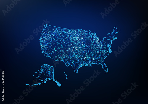 Abstract of usa map network, internet and global connection ...