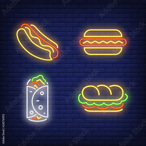 Kebab, sandwich and hotdogs neon signs set - Buy this stock