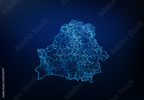 Obraz na plátně Abstract of belarus map network, internet and global connection concept, Wire Frame 3D mesh polygonal network line, design sphere, dot and structure