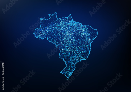 Fototapeta Abstract of brazil map network, internet and global connection concept, Wire Frame 3D mesh polygonal network line, design sphere, dot and structure