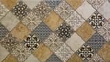 marmurowe płytki ścienne kuchni z abstrakcyjny wzór geometryczny mozaiki, tekstury rocznika papieru - 265762345