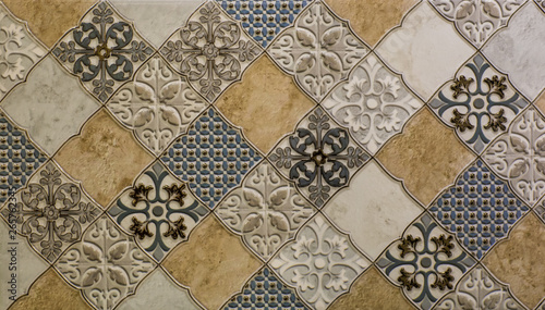 Fotografie, Obraz marble kitchen wall tile with abstract mosaic geometric pattern, vintage paper t