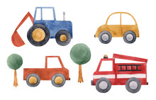Watercolor Baby Cars Set