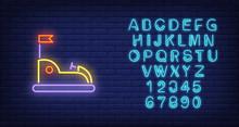 Go Kart In Amusement Park Neon Sign