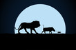 Lion, warthog and woodchuck silhouette on a moon background