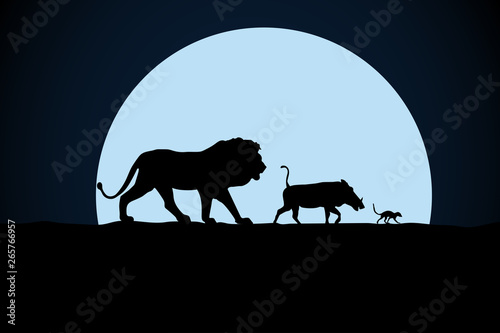 Lion, warthog and woodchuck silhouette on a moon background Wallpaper Mural