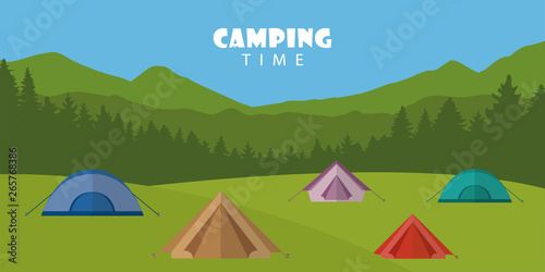 camping time outdoor summer landscape with colorful tents vector illustration EP Fotobehang