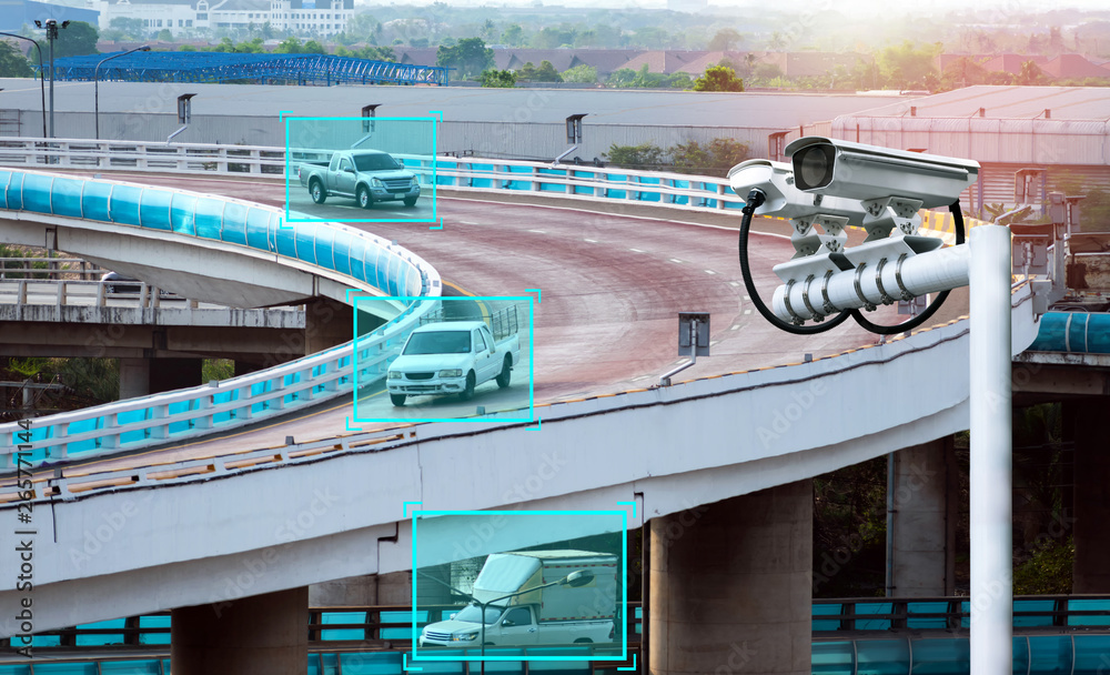 Fototapety, obrazy: Machine learning analytics identify vehicles technology , Artificial intelligence concept. Software ui analytics and recognition cars vehicles in city. Smart surveillance cameras.