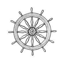 Nautical Black Helm. Ship Steering Wheel Ink Pen Sketch On Isolated Background With Engraved Elements. Hand Drawn Illustration.