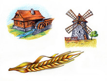Water Mill And Windmill And Ea...
