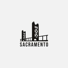 Flat Minimalist Sacramento Bridge Bridge Logo Vector Template On White Background