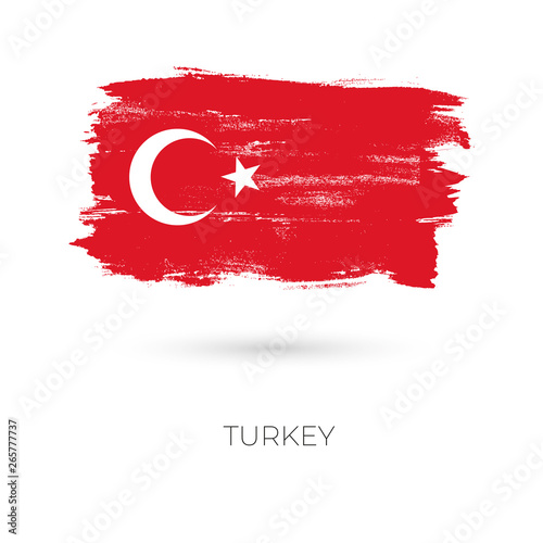 Turkey colorful brush strokes painted national country flag icon Canvas Print