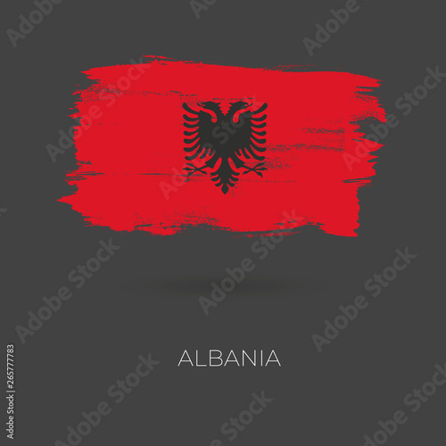 Albania colorful brush strokes painted national country flag icon Wallpaper Mural