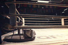 Equipments In A Corner Of Boxing Ring