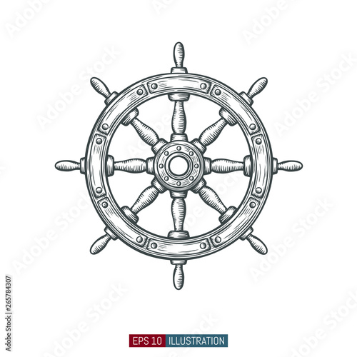 фотография Hand drawn ship wheel