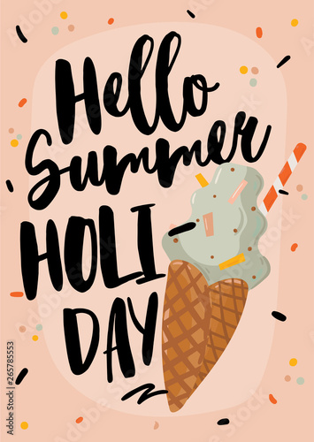 Staande foto Retro sign Summer print with cute holiday elements and lettering isolated on white background.