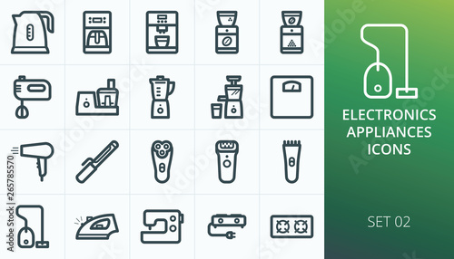 Valokuva Kitchen appliances and household electronics icons set