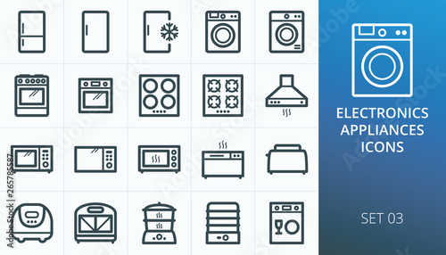 Household appliances and electronics icons set Canvas Print