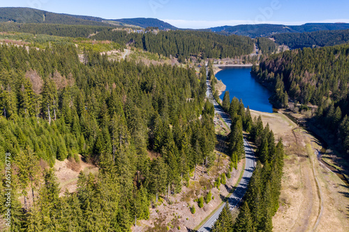 Aerial view of a flight over a reservoir in the Harz Mountains, a German low mou Wallpaper Mural