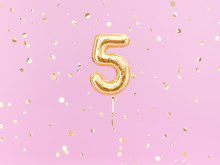 Five Year Birthday. Number 5 Flying Foil Balloon On Pink. Five-year Anniversary Gold Confetti Background. 3d Rendering