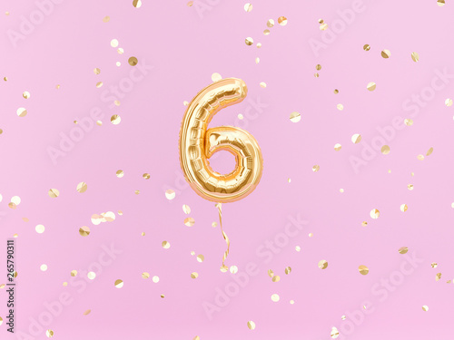 Obraz Six year birthday. Number 6 flying foil balloon on pink. Six-year anniversary gold confetti background. 3d rendering - fototapety do salonu