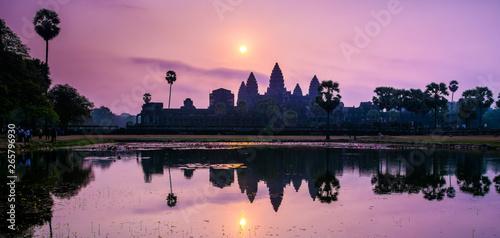Amazing view of Angkor Wat temple at sunrise Wallpaper Mural