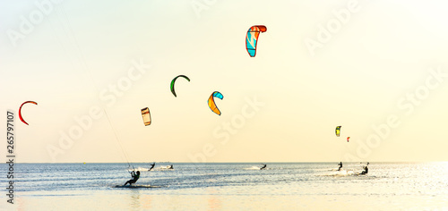 Fotografie, Obraz  Kite-surfing and a lot of silhouettes of kites in the sky