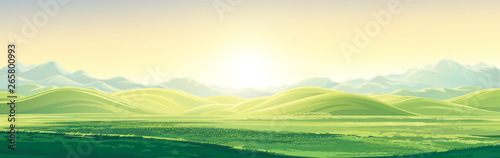 Photo sur Toile Beige Mountain landscape with a dawn, an elongated format for the convenience of using it as a background.